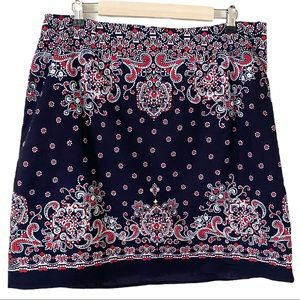 Talbots Blue/Red Floral Patterned Pencil Skirt